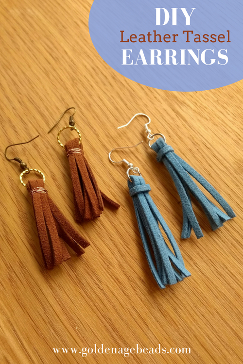Diy Leather Tassel Earrings Golden Age Beads