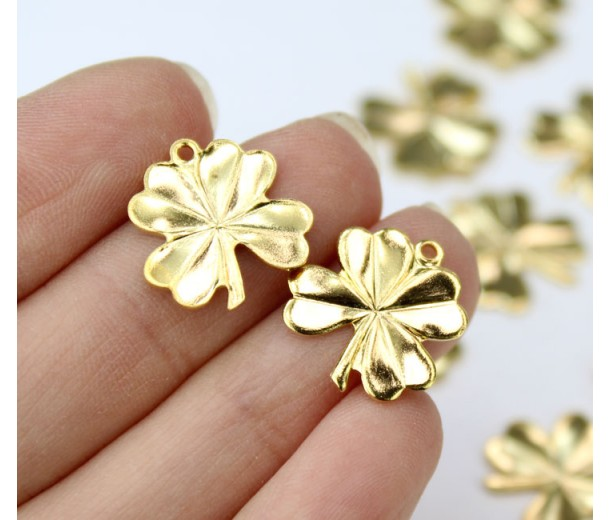 15mm Lucky Clover Leaf Charms, Gold Tone, Pack of 10