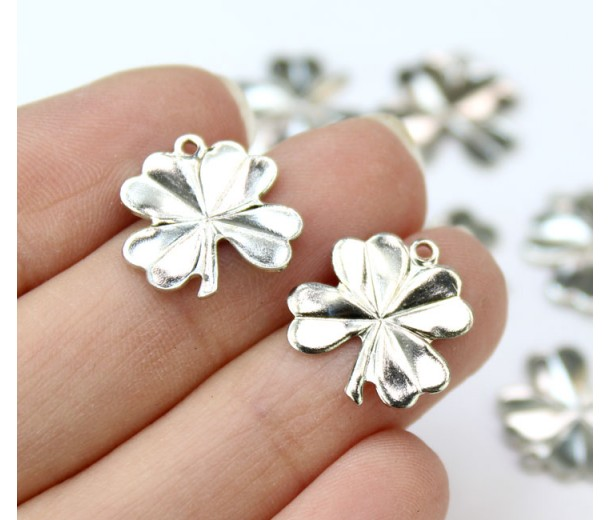 15mm Lucky Clover Leaf Charms, Rhodium Plated, Pack of 10