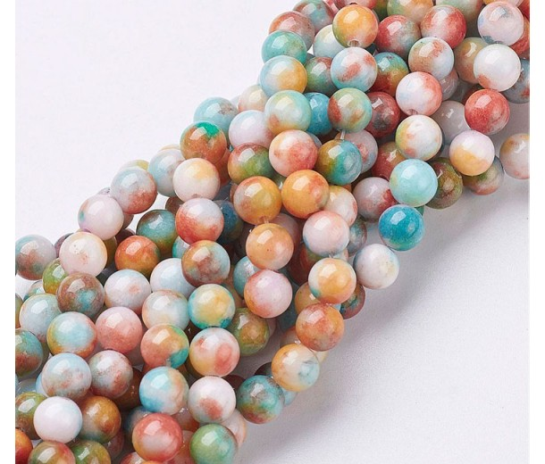 Light Blue, Yellow and Coral Multicolor Jade Beads, 6mm Round