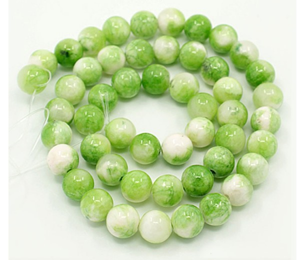 Cucumber Green Multicolor Jade Beads, 8mm Round