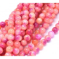 Coral and Fuchsia Multicolor Jade Beads, 8mm Round