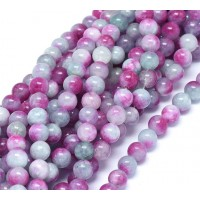 Cadet Blue and Magenta Multicolor Jade Beads, 8mm Round