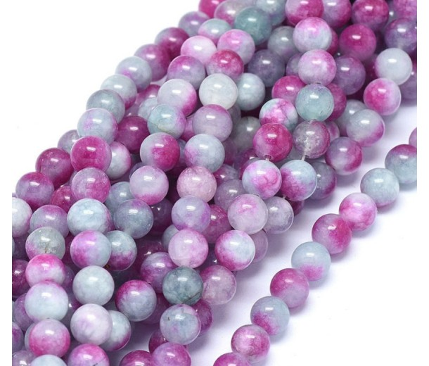 Cadet Blue and Magenta Multicolor Jade Beads, 8mm Round