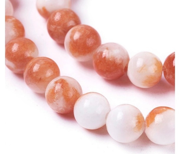 Orange and White Multicolor Jade Beads, 8mm Round