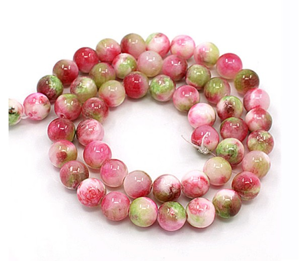 Wild Cranberry Mix Multicolor Jade Beads, 8mm Round