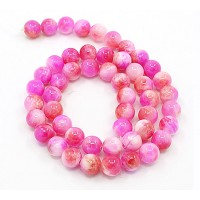 Bright Pink and Sienna Multicolor Jade Beads, 8mm Round