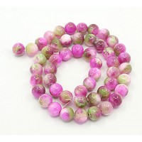 Rose Pink and Green Multicolor Jade Beads, 8mm Round