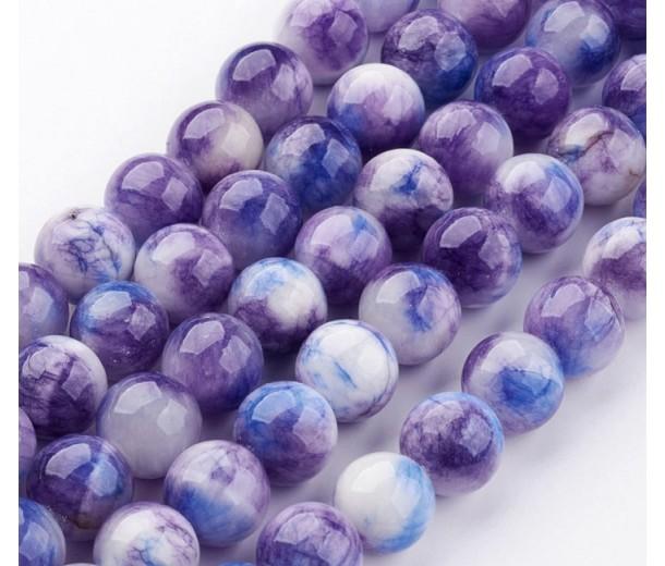 Cobalt Blue and Purple Multicolor Jade Beads, 8mm Round