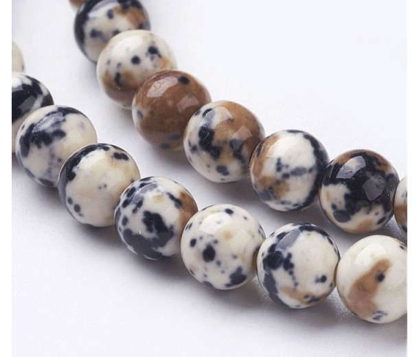 Ocelot Print Multicolor Jade Beads, 6mm Round