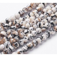 Ocelot Print Multicolor Jade Beads, 6mm Round
