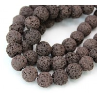 Lava Rock Beads, Chocolate Brown, 10mm Round