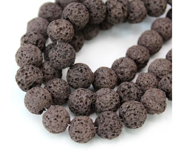Lava Rock Beads, Chocolate Brown, 10mm Round