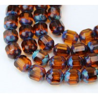 Topaz Brown Picasso Czech Glass Beads, 10mm Renaissance, 7 Inch Strand