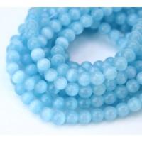 Light Blue Cat Eye Glass Beads, 6mm Smooth Round