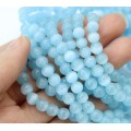 Light Blue Cat Eye Glass Beads, 6mm Smooth Round