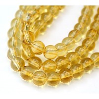 Glass Beads, Yellow Brown, 8mm Smooth Round