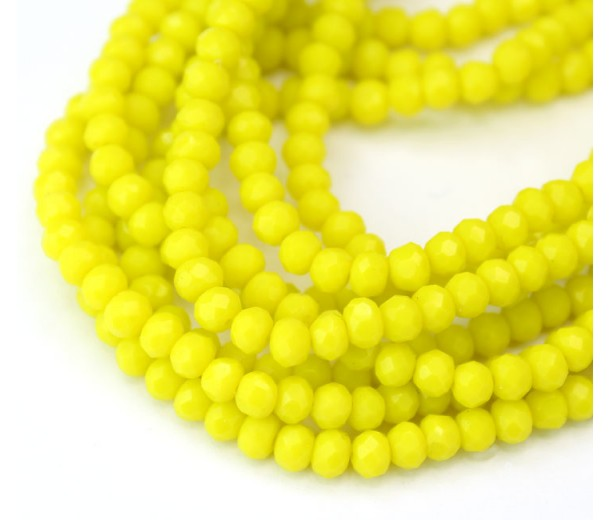 Bright Yellow Opaque Glass Beads, 4x3mm Faceted Rondelle