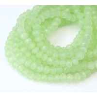 Milky Light Green Glass Beads, 4x3mm Faceted Rondelle