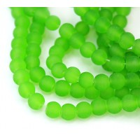 Leaf Green Frosted Glass Beads, 6mm Smooth Round
