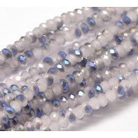 Milky White Half Plated Glass Beads, 4x3mm Faceted Rondelle