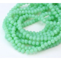 Green Aqua Opaque Glass Beads, 4x3mm Faceted Rondelle