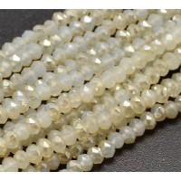 Ivory Half Plated Glass Beads, 4x3mm Faceted Rondelle