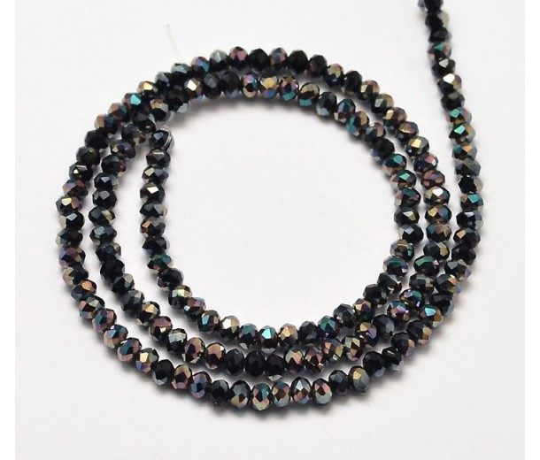 Black AB Half Plated Glass Beads, 4x3mm Faceted Rondelle