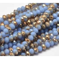 Periwinkle Half Plated Glass Beads, 4x3mm Faceted Rondelle