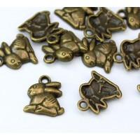 14mm Medium Rabbit Charms, Antique Brass, Pack of 5