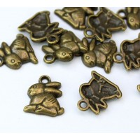 14mm Medium Rabbit Charms, Antique Brass, Pack of 5