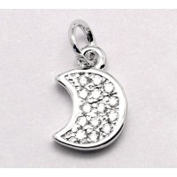 9mm Tiny Crescent Moon Rhinestone Charm, Rhodium Plated