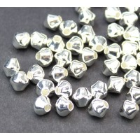 6mm Smooth Bicone Beads, Silver Plated, Pack of 50