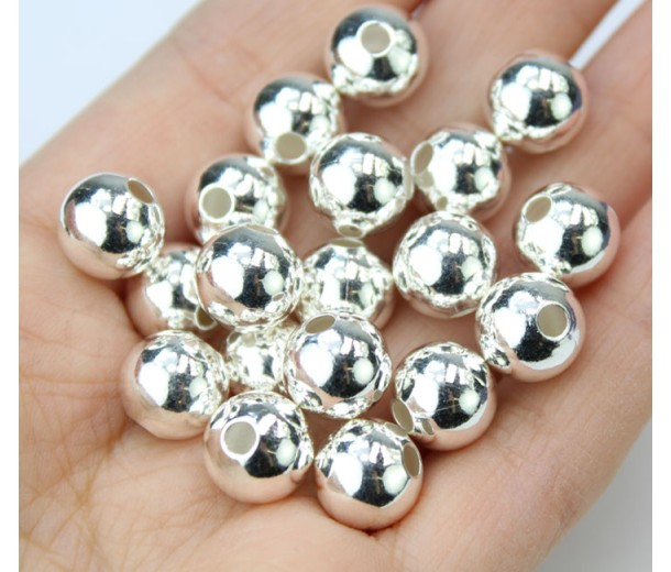 10mm Smooth Round Beads, Silver Plated, Pack of 20