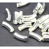15mm Curved Smooth Tube Bead, 4mm Hole, Silver Plated