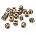 6mm Beaded Barrel Beads, Antique Brass, Pack of 20