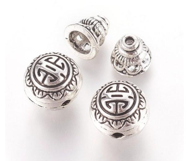 10mm Bali Style Guru Bead, Antique Silver