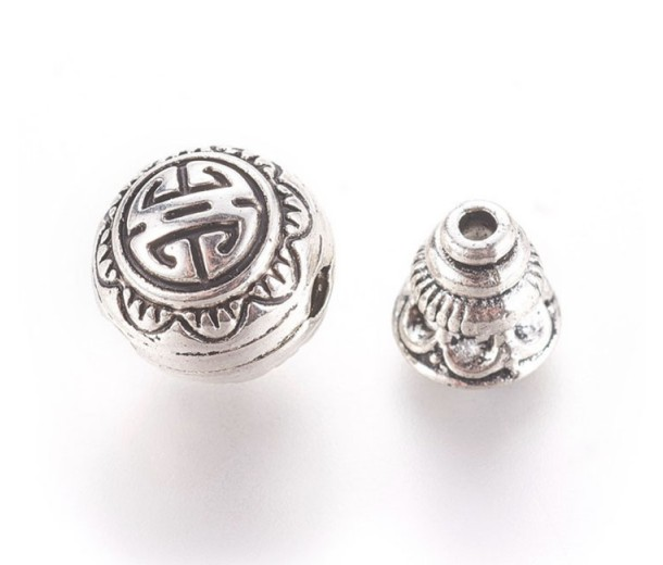 10mm Bali Style Guru Bead, Antique Silver