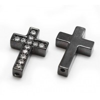 Pave Cubic Zirconia Bead, Gunmetal Finish, 18x12mm Cross