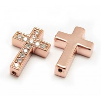 Pave Cubic Zirconia Bead, Rose Gold Tone, 18x12mm Cross
