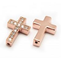 Pave Cubic Zirconia Bead, Rose Gold Tone, 18x12mm Cross
