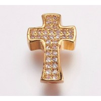 Pave Cubic Zirconia Bead, Gold Tone, 14mm Cross