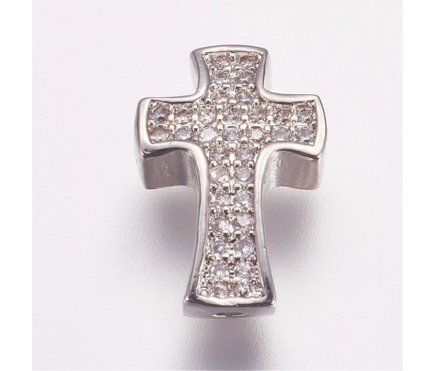 Pave Cubic Zirconia Bead, Rhodium Plated, 14mm Cross