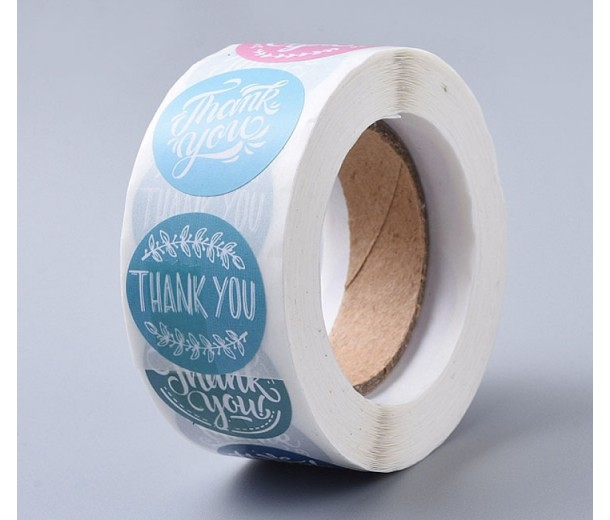 Thank You Stickers, Retro Style Color Mix, 25mm Diameter, Roll of 500 Pcs