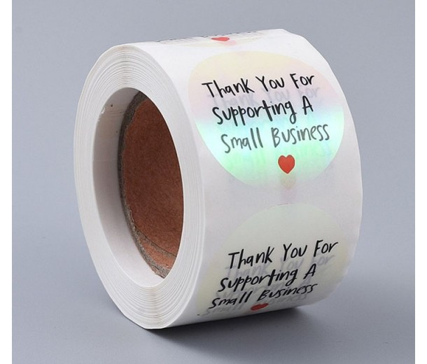Business Thank You Stickers, Holographic, 38mm Diameter, Roll of 500 Pcs