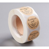 Handmade With Love Stickers, Kraft Paper, 25mm Diameter, Roll of 500 Pcs