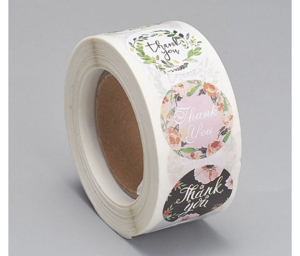 Thank You Stickers, Floral Style Mix, 25mm Diameter, Roll of 500 Pcs