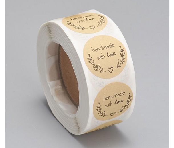 Handmade With Love Kraft Paper Stickers, 25mm Diameter, Roll of 500 Pcs