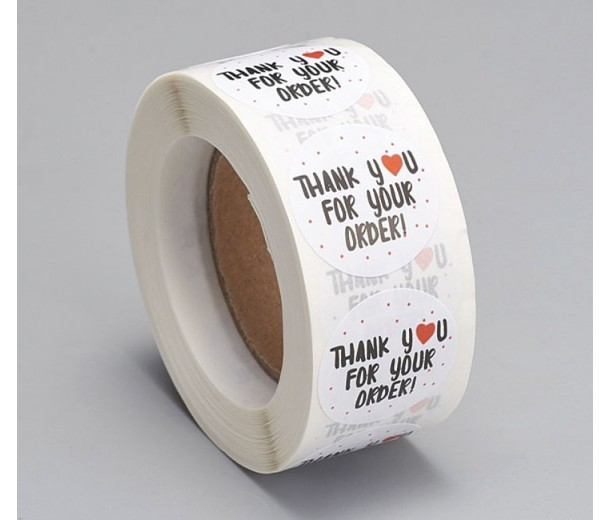 Thank You for Your Order Stickers, White, 25mm Diameter, Roll of 500 Pcs