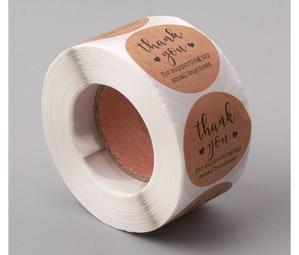 Business Thank You Stickers, Kraft Paper, 38mm Diameter, Roll of 500 Pcs